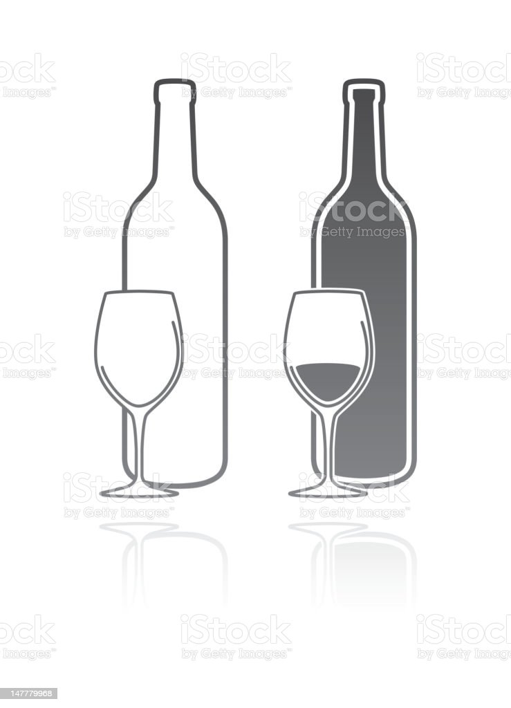 Empty and full bottles of wine royalty-free stock vector art