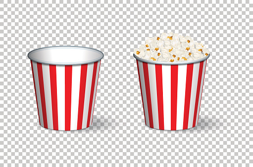 Empty and full popcorn buckets isolated on transparent background. Vector illustration.