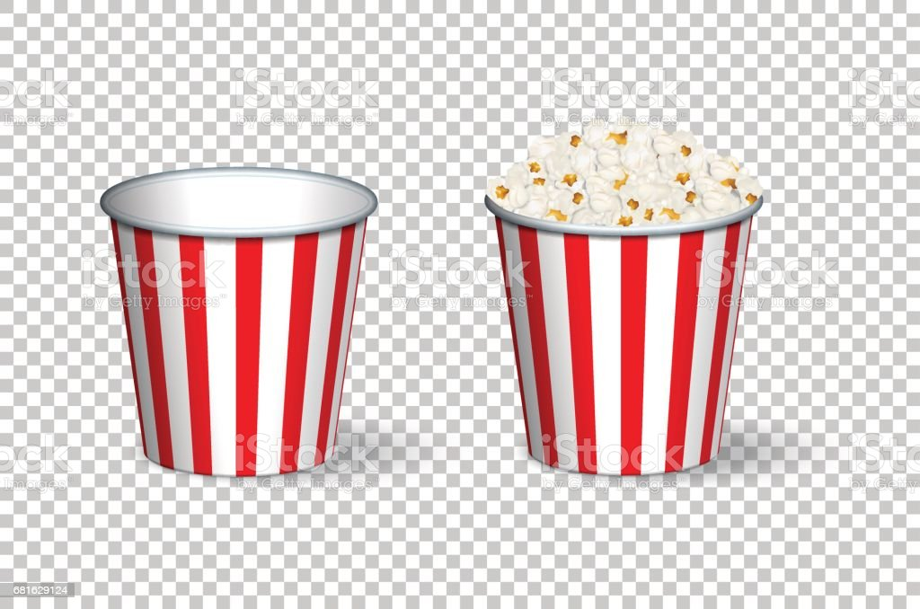 Empty and full popcorn buckets isolated on transparent background. Vector illustration. vector art illustration