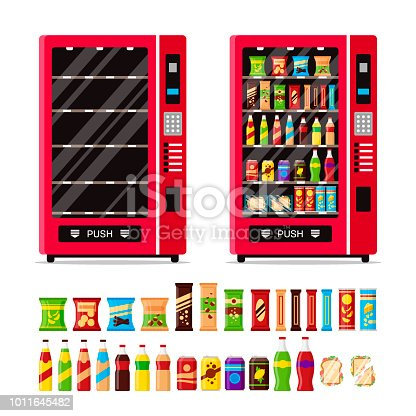 Empty and full vending machine with snacks and drinks isolated on white background. Automat with fast food snacks, drinks, nuts, chips, cracker, juice, sandwich. Flat illustration in vector.