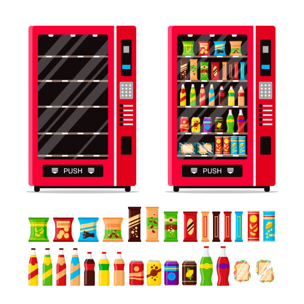 empty and full vending machine with snacks and drinks isolated on white background. automat with fast food snacks, drinks, nuts, chips, cracker, juice, sandwich. flat illustration in vector - empty vending machine stock illustrations