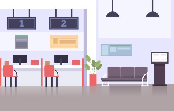 空の銀行のオフィス。ベクトルフラット漫画のグラフィックデザインのイラスト - 窓口点のイラスト素材/クリップアート素材/マンガ素材/アイコン素材