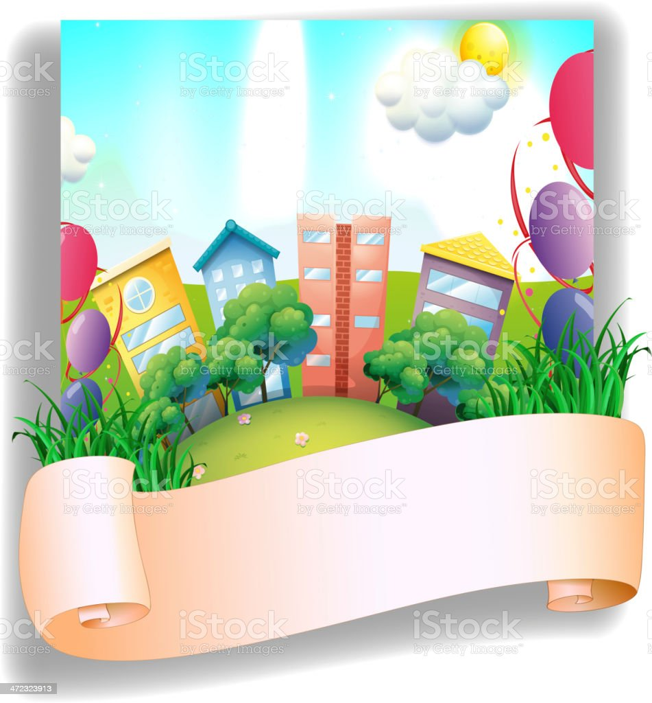 Empty banner in front of a city royalty-free empty banner in front of a city stock vector art & more images of advertisement