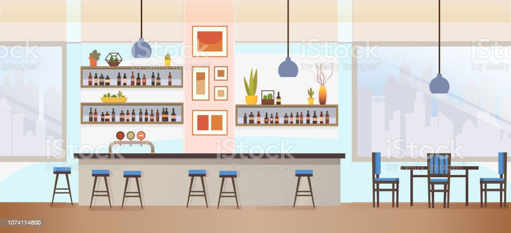 Restaurant, Pub or Cafe Bar Flat Vector Interior with Stools at...