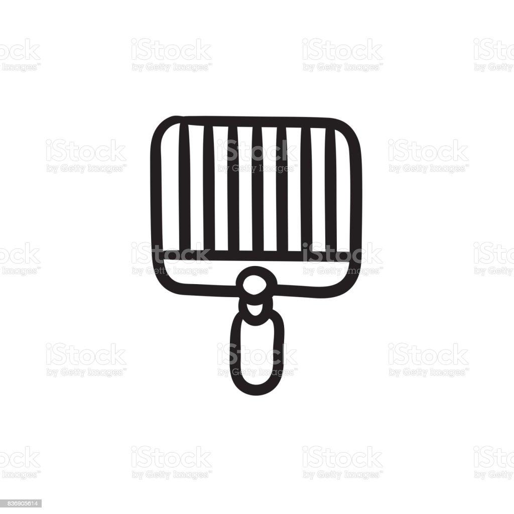 Empty barbecue grill grate sketch icon vector art illustration