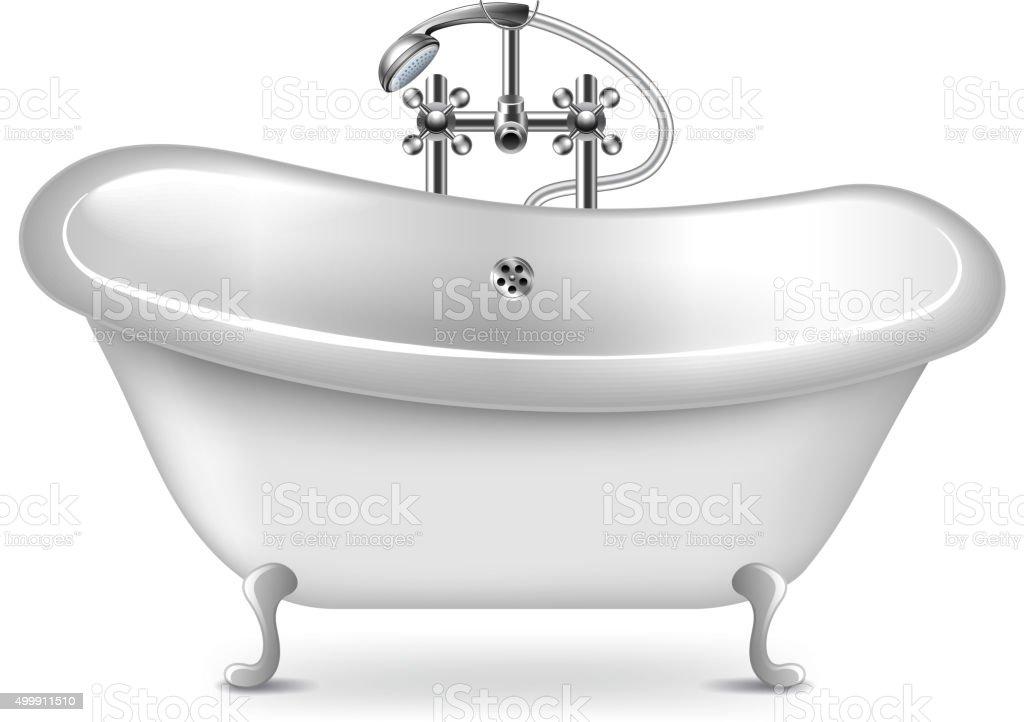 Banheiro vazio, Isolado no branco, vetor - ilustração de arte em vetor