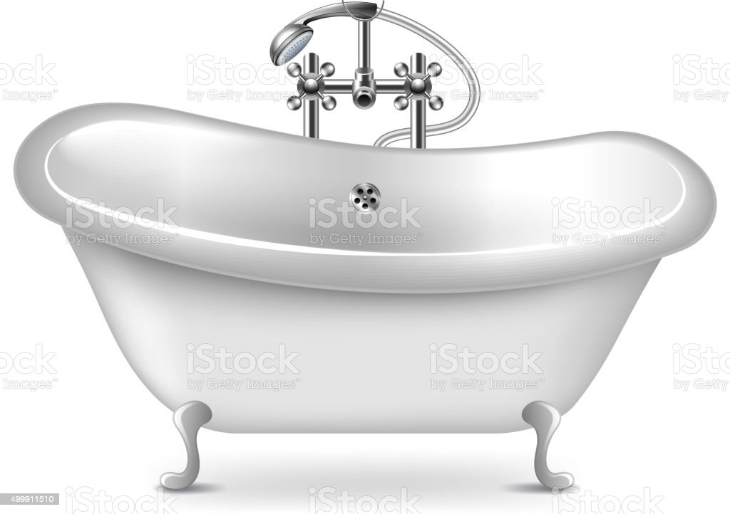 Empty bath isolated on white vector vector art illustration