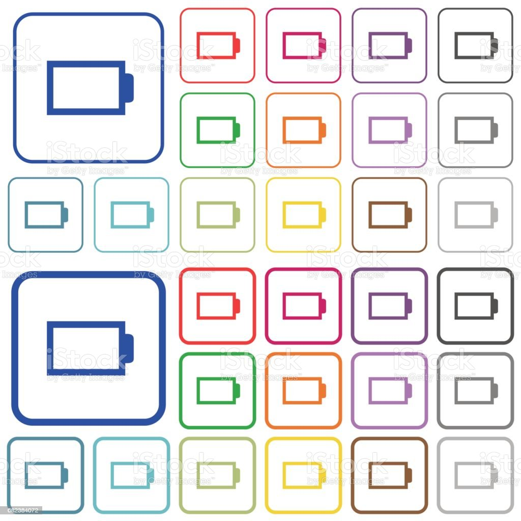 Empty battery color outlined flat icons empty battery color outlined flat icons - immagini vettoriali stock e altre immagini di alcalino royalty-free