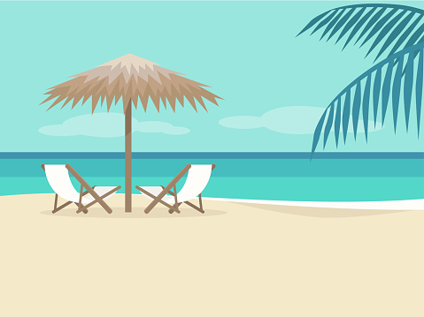 Empty beach landscape. Two chaise lounges under the palm tree umbrella. No people. Background. Paradise. Flat editable vector illustration, clip art clipart