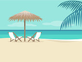 Empty beach landscape. Two chaise lounges under the palm tree umbrella. No people. Background. Paradise. Flat editable vector illustration, clip art