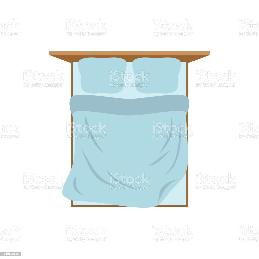 Empty Bed top view isolated. Pillow and blanket. Tucked Double bed on white background vector art illustration