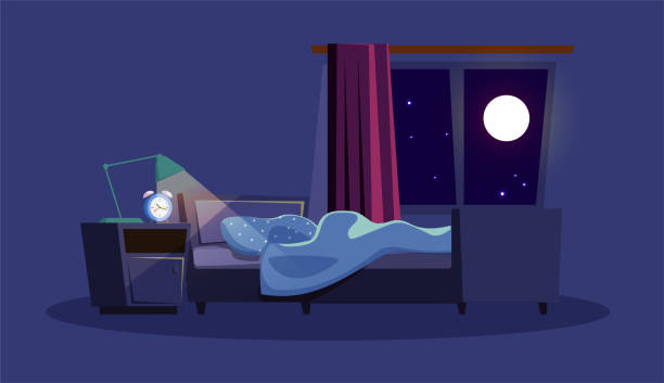 Empty bedroom at night flat vector illustration Empty bedroom at night flat vector illustration. Apartment, dormitory room with no people inside. Alarm clock, lamp on nightstand, unmade bed and full moon in window composition on blue background bedroom silhouettes stock illustrations