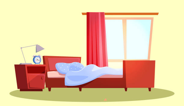 Empty bedroom interior flat vector illustration Empty bedroom interior flat vector illustration. Apartment furnishing. Cozy room with wooden bed and nightstand. Living room design interior with hanging curtain on window. Accommodation decor bedroom backgrounds stock illustrations