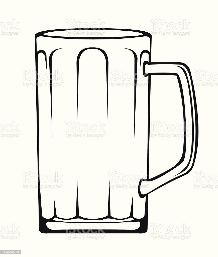Empty beer mug vector art illustration