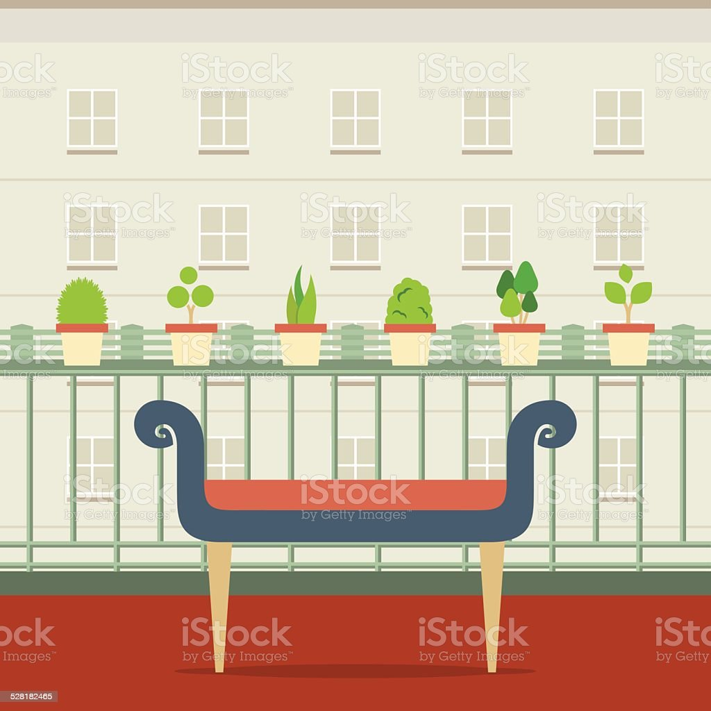 Empty Bench At Balcony With Pot Plant vector art illustration