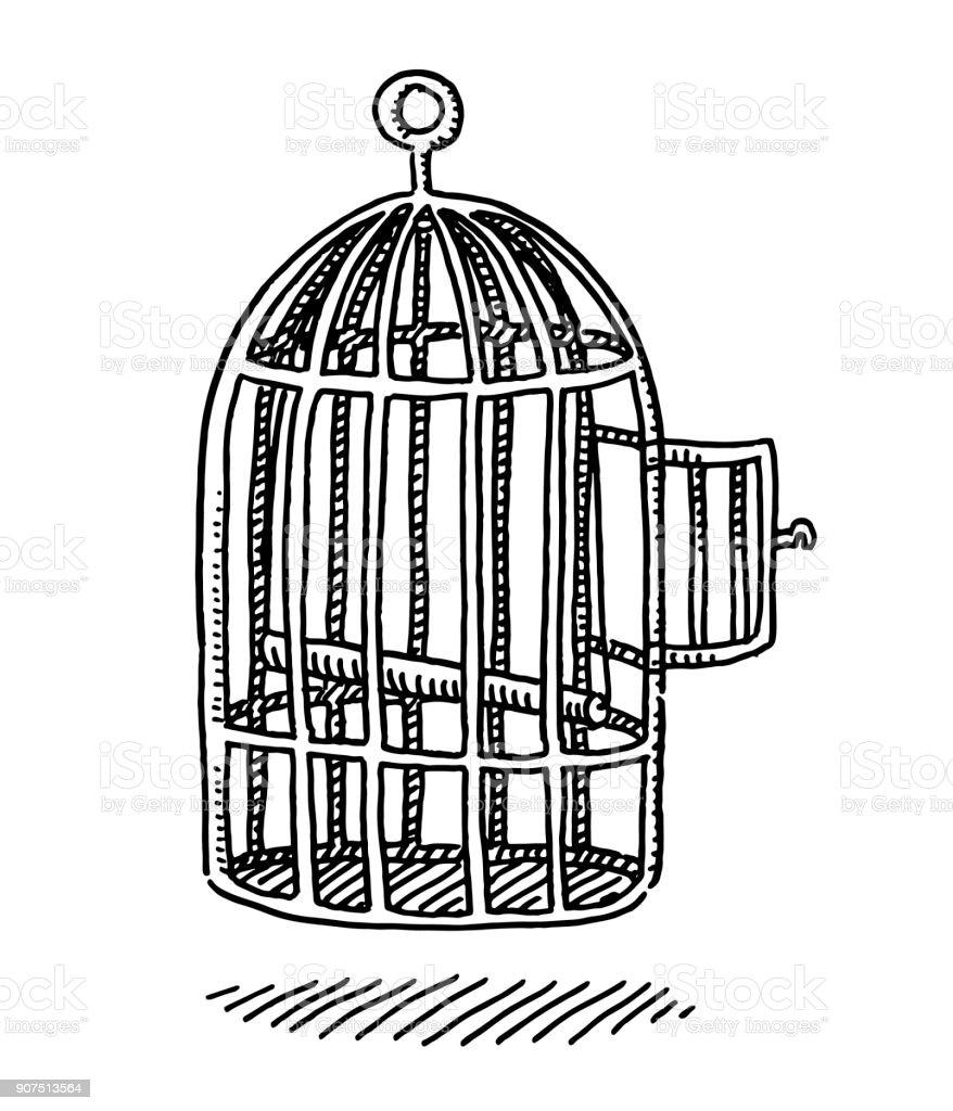 Empty Bird Cage Open Door Drawing vector art illustration