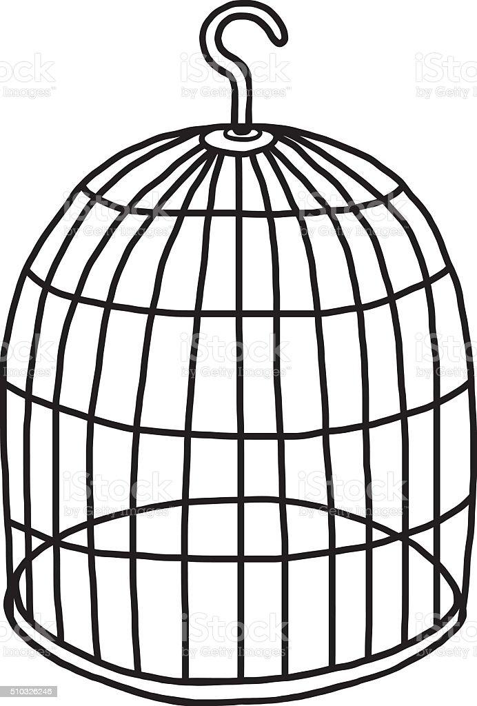 empty bird cage vector art illustration