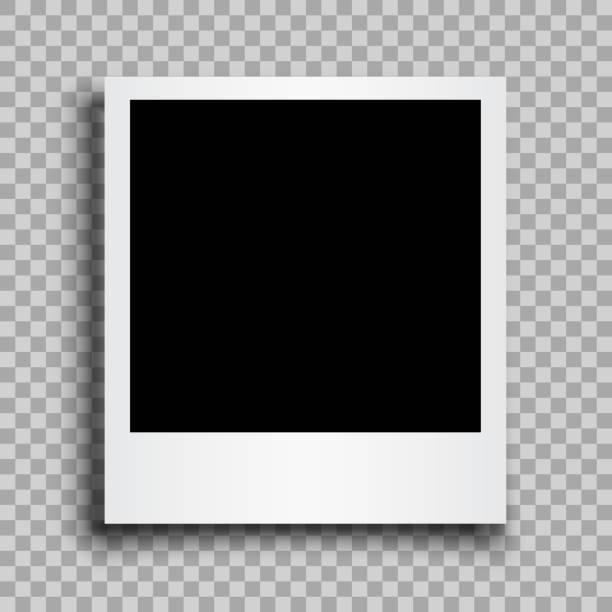 пустая черная фоторамка с тенями - сток вектор - white background stock illustrations