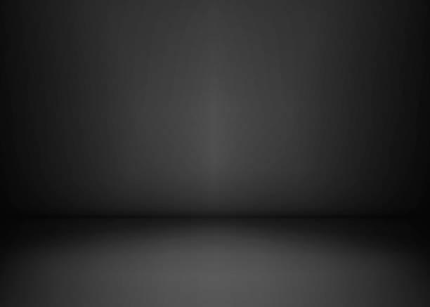 Empty black studio room. Dark background. Abstract dark empty studio room texture. Vector illustration Empty black studio room. Dark background. Abstract dark empty studio room texture. Vector illustration showroom stock illustrations