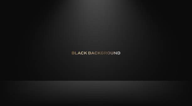 pusty czarny pokój typu studio, używany jako tło do wyświetlania produktów. wektor - ciemny stock illustrations