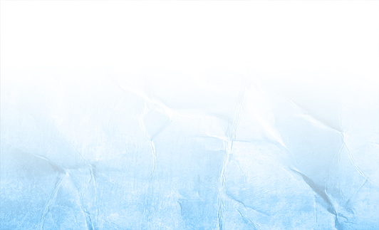 Empty blank bright light sky blue and white coloured ombre old crumpled crushed creased recycled paper horizontal vector backgrounds
