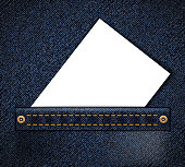 Empty blank document or business card in jeans pocket. Background for advertising. Vector illustration.