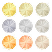 empty Blank Set  vector templates for coin, price tags, sewing buttons, buttons, icons or medals with gold different types: white, red, pink, silver, platinum shiny metal texture