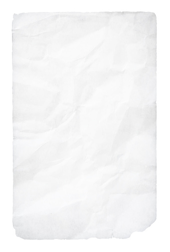 Empty blank white coloured grunge crumpled crushed recycled paper vertical vector backgrounds with folds and creases all over and uneven torn edges