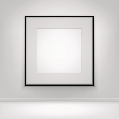 istock Empty Blank White Poster Black Frame on Wall with Floor 641985488