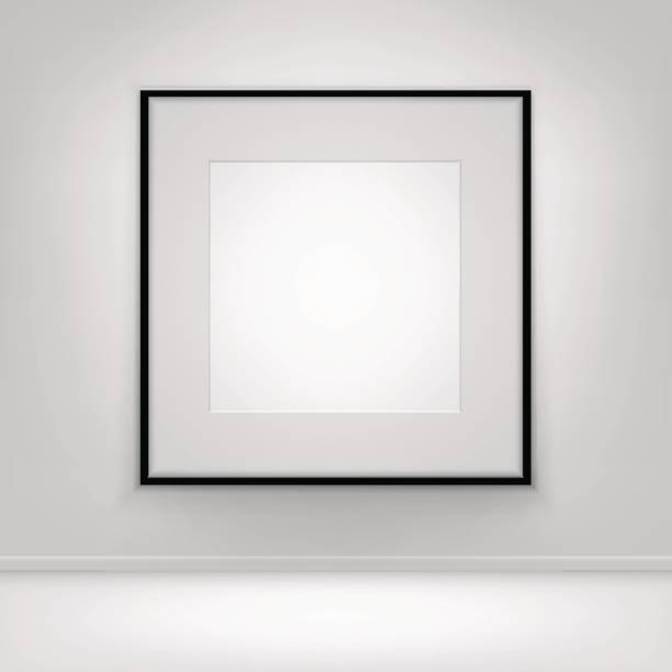Empty Blank White Poster Black Frame on Wall with Floor stock photo
