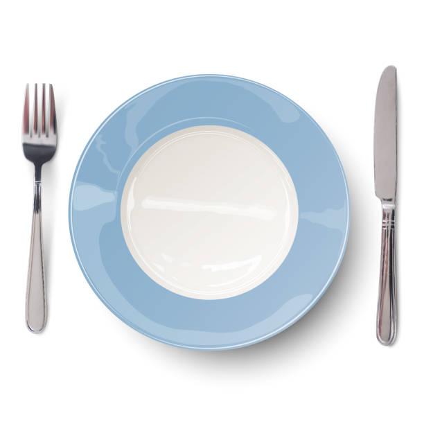 bildbanksillustrationer, clip art samt tecknat material och ikoner med tom blå tallrik med kniv och gaffel. visa från ovan. - empty plate