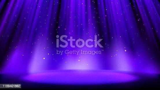 istock Empty blue purple scene with dark background, place lit by soft indigo spotlight, shiny sparkling particles. Indigo background with soft glow. Vector illustration 1159401862