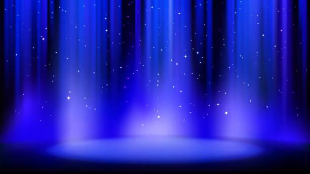 暗い背景を持つ空の青いシーンは、柔らかいスポットライト、光沢のある輝く粒子によって点灯場所。柔らかい輝きを持つ青い背景。ベクトルイラスト - glitter curtain点のイラスト素材/クリップアート素材/マンガ素材/アイコン素材
