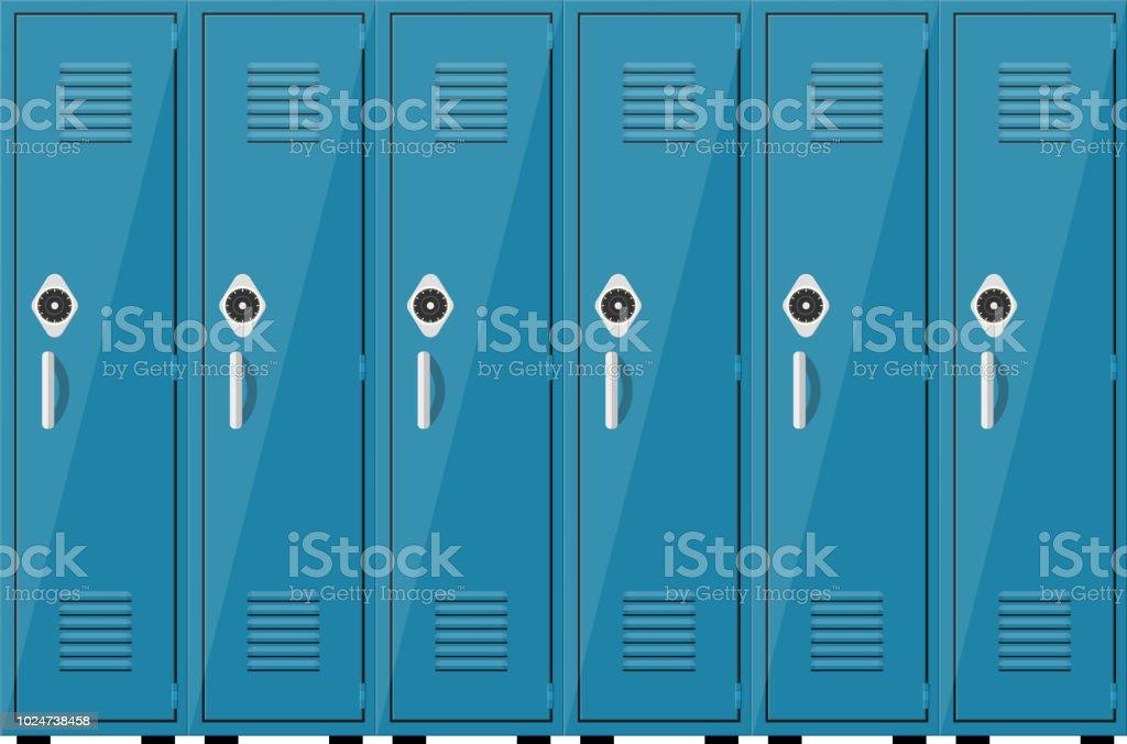 Empty blue school lockers vector art illustration