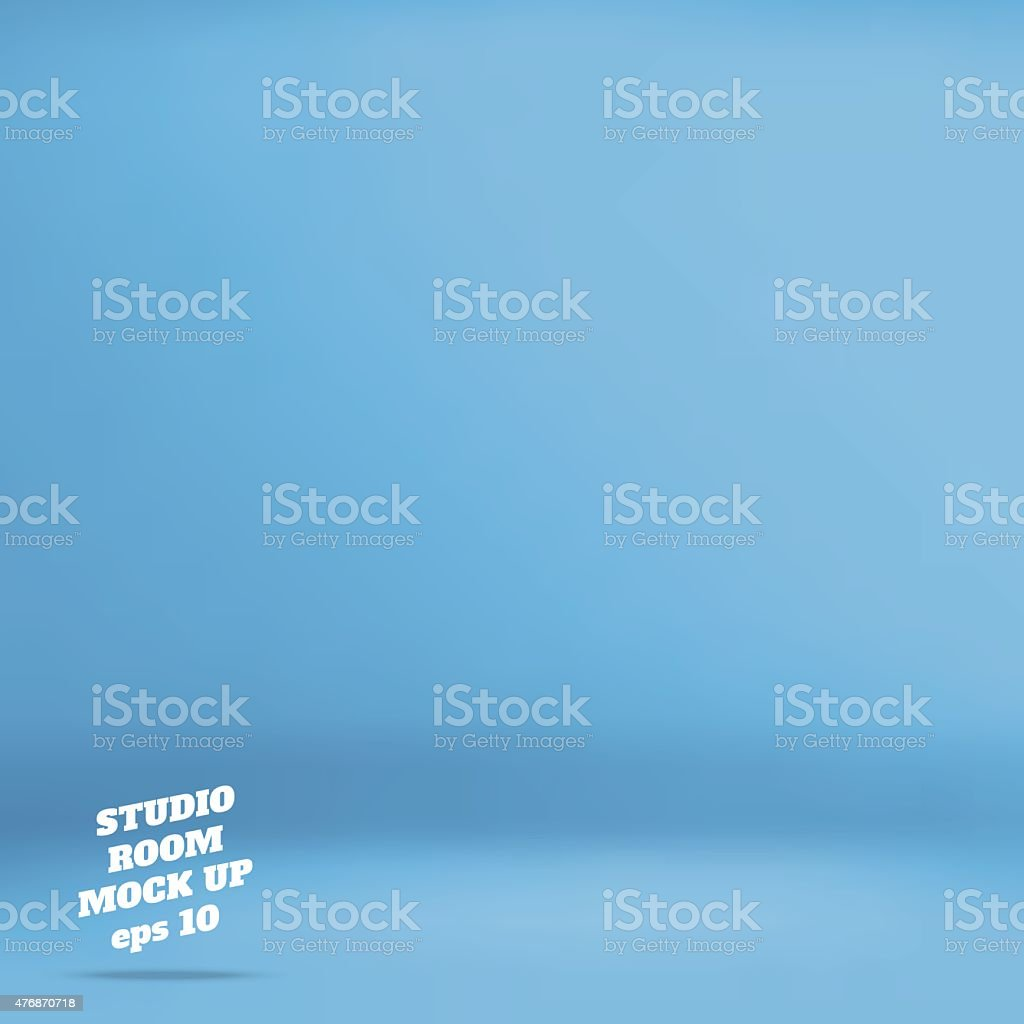Empty blue studio room background vector art illustration