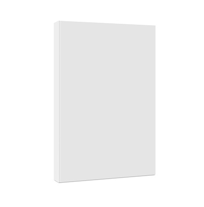Empty Book Template. Standing closed book with white Cover. Vertical Blank Mockup. 3d Vector Realistic. Magazine, album or diary on white background. EPS10.