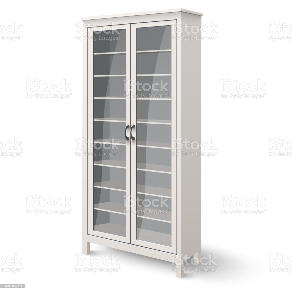 Empty Bookcase With Glass Doors Isolated On White Background
