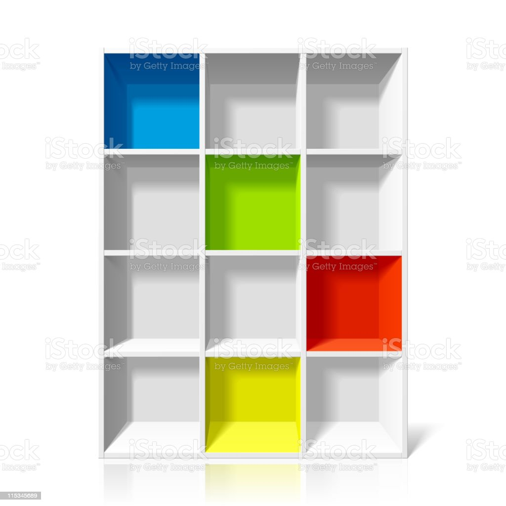 Empty bookshelf royalty-free stock vector art