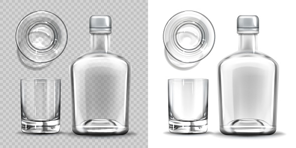 Empty bottle and shot glass side and top view set.