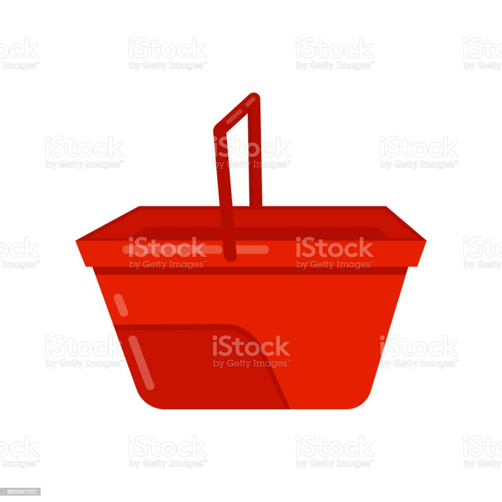 Empty bright red bucket with handle. Plastic container for carry liquids. Flat vector icon of small water pail empty bright red bucket with handle plastic container for carry liquids flat vector icon of small water pail - stockowe grafiki wektorowe i więcej obrazów bez ludzi royalty-free