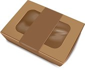 Empty Brown Paper Food Container with Label for your design