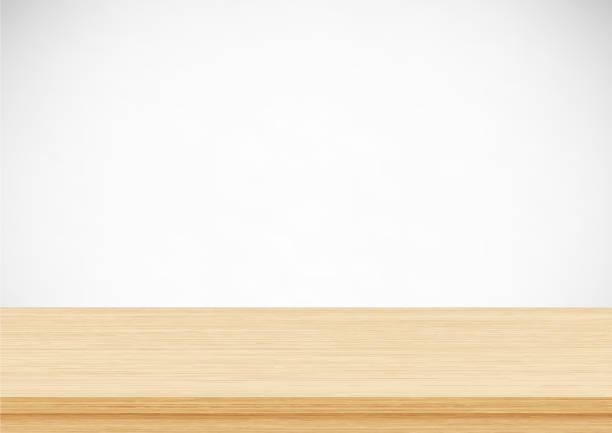 illustrazioni stock, clip art, cartoni animati e icone di tendenza di empty brown wood table top on gray background. template mock up for display of product - tavolo legno