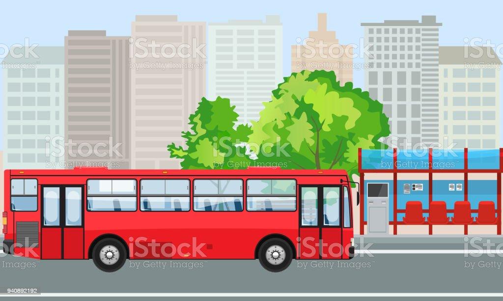 Vider l'arrêt de Bus et Bus avec City Skyline Design plat Style. - Illustration vectorielle