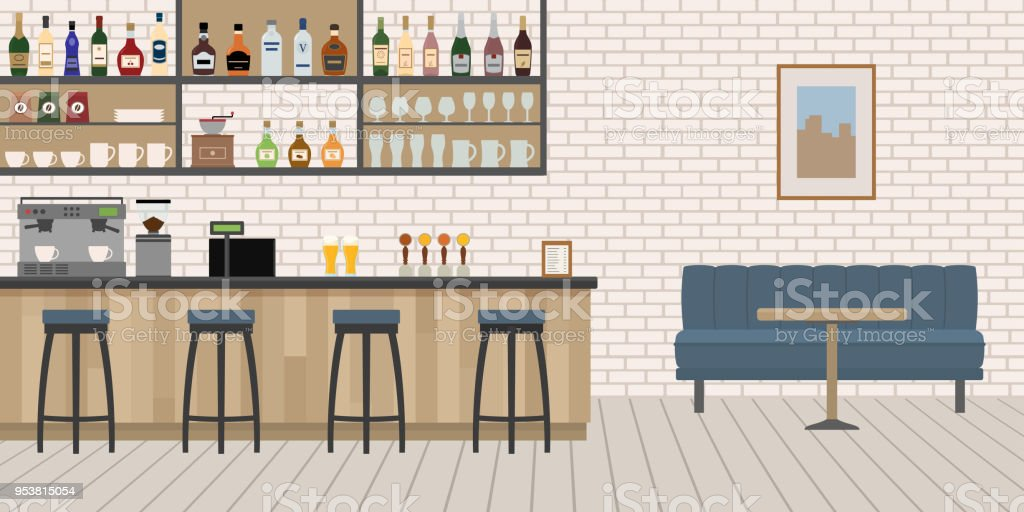 Empty Cafe Bar interior with wooden counter, chairs and equipment. - Grafika wektorowa royalty-free (Ale - Piwo)