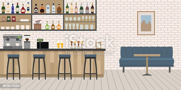 Empty Cafe Bar interior with wooden counter, chairs and equipment.