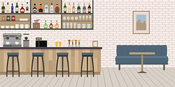 Empty Cafe Bar Interior With Wooden Counter Chairs And Equipment - Stockowe grafiki wektorowe i więcej obrazów Ale - Piwo