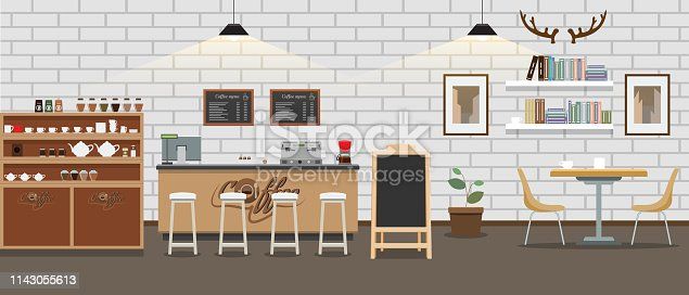 Empty cafe interior. Cofee shop Bar counter with high detailed flat and solid color style. Vector illustration