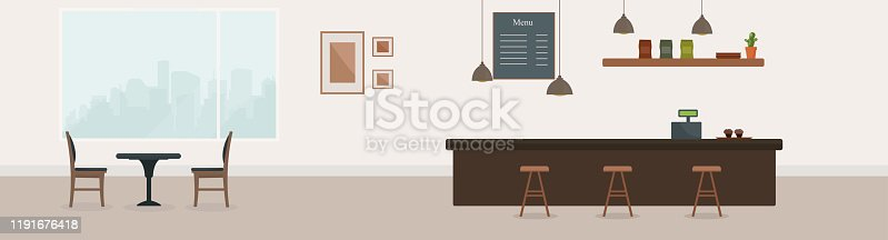 istock Empty cafe interior. Coffee shop with brown bar counter, table and chairs. Flat design. Cafe or restaurant interior design with coffee shop,  vector illustration. Empty cafe interior 1191676418