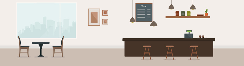 Empty cafe interior. Coffee shop with brown bar counter, table and chairs. Flat design. Cafe or restaurant interior design with coffee shop,  vector illustration. Empty cafe interior