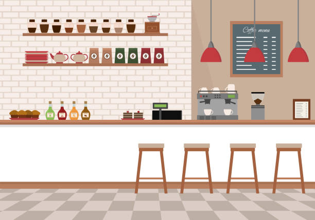 Empty cafe interior. Coffee shop with white bar counter, shelves and equipments. Empty cafe interior. Coffee shop with white bar counter, shelves and equipments. Flat design vector illustration. cafe stock illustrations